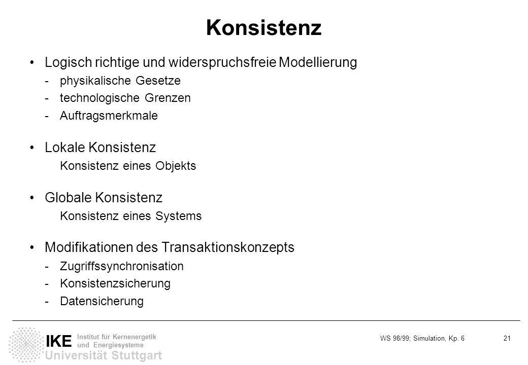 WS 98/99; Simulation, Kp. 6 21 Universität Stuttgart IKE Institut für Kernenergetik und Energiesysteme Konsistenz Logisch richtige und widerspruchsfre