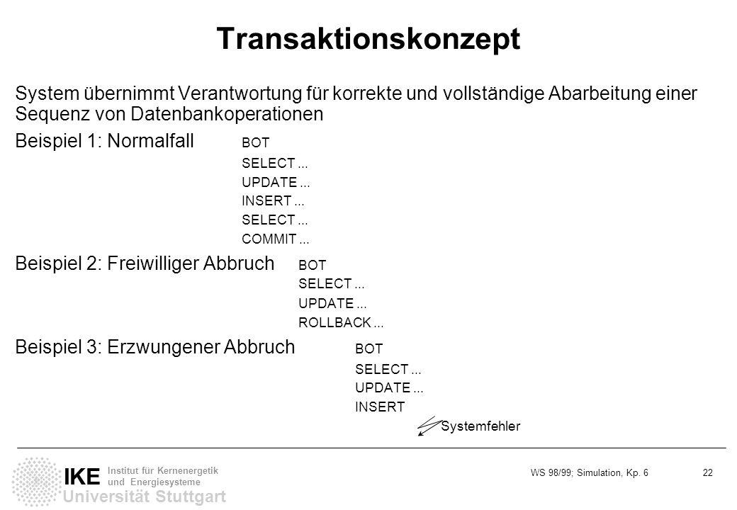WS 98/99; Simulation, Kp. 6 22 Universität Stuttgart IKE Institut für Kernenergetik und Energiesysteme Transaktionskonzept System übernimmt Verantwort