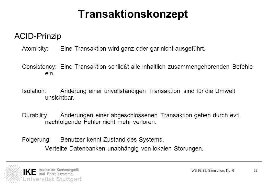 WS 98/99; Simulation, Kp. 6 23 Universität Stuttgart IKE Institut für Kernenergetik und Energiesysteme Transaktionskonzept ACID-Prinzip Atomicity:Eine