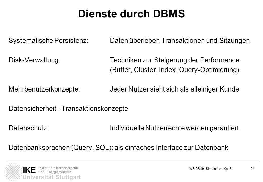 WS 98/99; Simulation, Kp. 6 24 Universität Stuttgart IKE Institut für Kernenergetik und Energiesysteme Dienste durch DBMS Systematische Persistenz:Dat