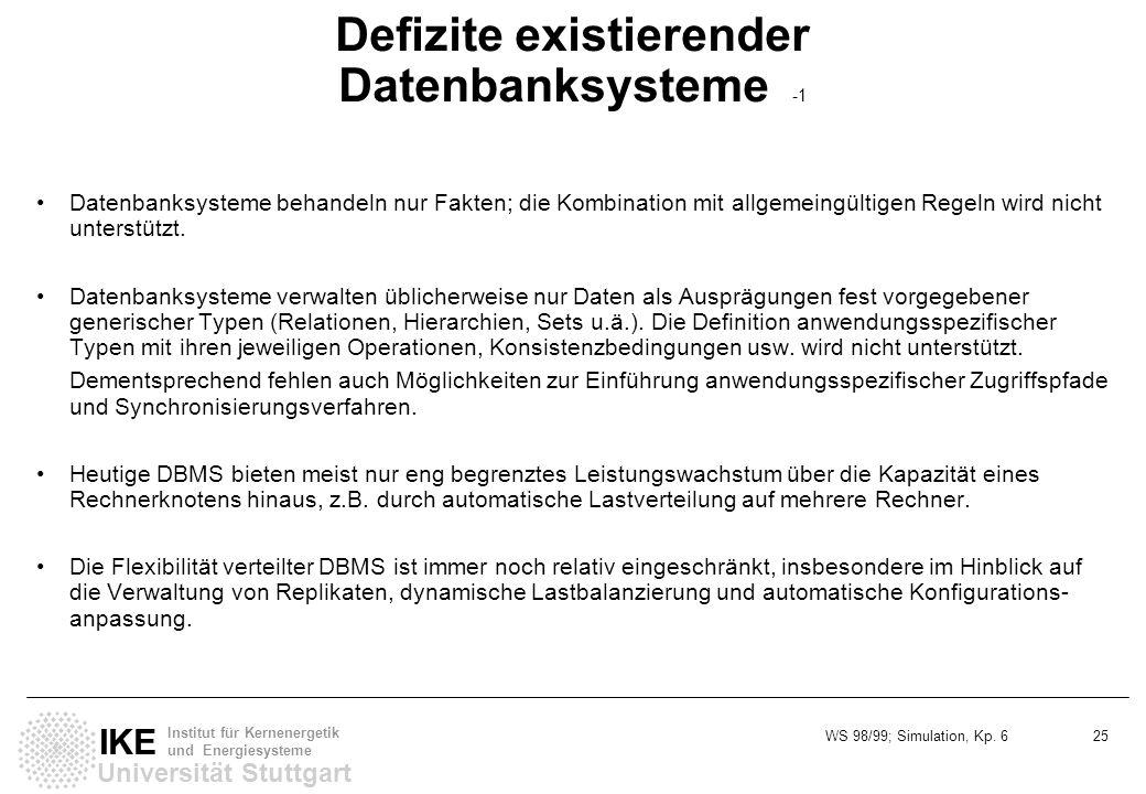 WS 98/99; Simulation, Kp. 6 25 Universität Stuttgart IKE Institut für Kernenergetik und Energiesysteme Defizite existierender Datenbanksysteme -1 Date