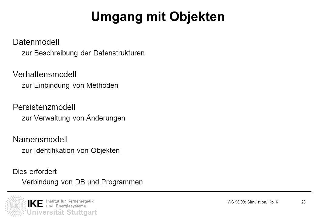 WS 98/99; Simulation, Kp. 6 28 Universität Stuttgart IKE Institut für Kernenergetik und Energiesysteme Umgang mit Objekten Datenmodell zur Beschreibun