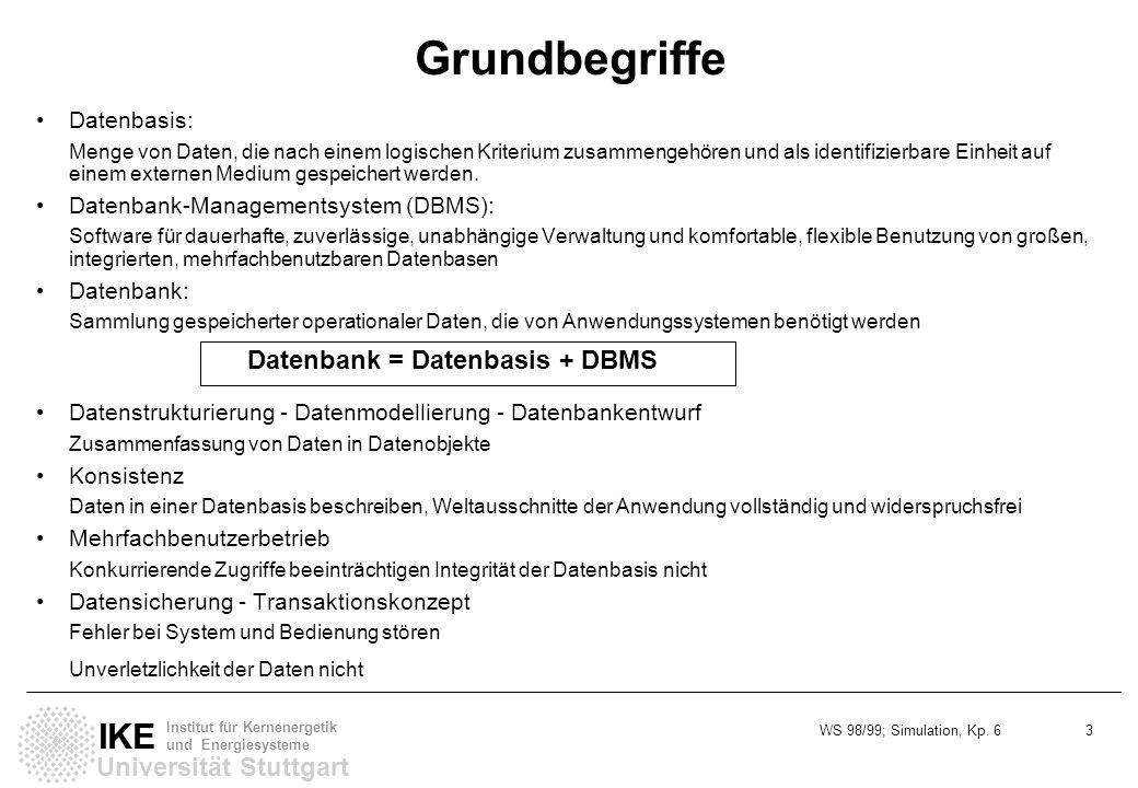 WS 98/99; Simulation, Kp. 6 3 Universität Stuttgart IKE Institut für Kernenergetik und Energiesysteme Grundbegriffe Datenbasis: Menge von Daten, die n