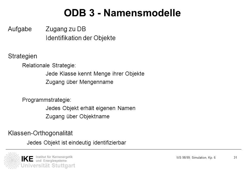 WS 98/99; Simulation, Kp. 6 31 Universität Stuttgart IKE Institut für Kernenergetik und Energiesysteme ODB 3 - Namensmodelle AufgabeZugang zu DB Ident