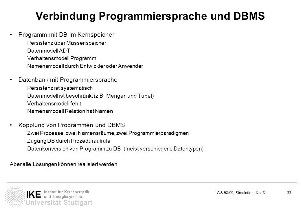 WS 98/99; Simulation, Kp. 6 33 Universität Stuttgart IKE Institut für Kernenergetik und Energiesysteme Verbindung Programmiersprache und DBMS Programm