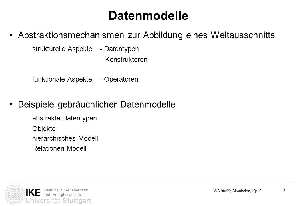 WS 98/99; Simulation, Kp. 6 8 Universität Stuttgart IKE Institut für Kernenergetik und Energiesysteme Datenmodelle Abstraktionsmechanismen zur Abbildu