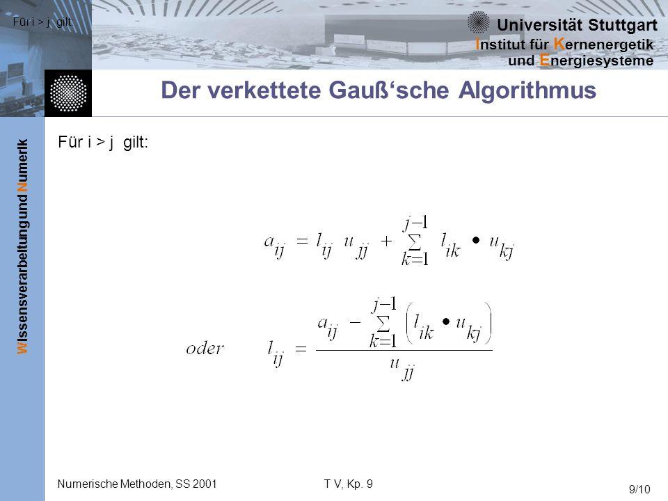Universität Stuttgart Wissensverarbeitung und Numerik I nstitut für K ernenergetik und E nergiesysteme Numerische Methoden, SS 2001T V, Kp. 9 9/10 Der