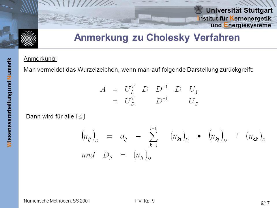 Universität Stuttgart Wissensverarbeitung und Numerik I nstitut für K ernenergetik und E nergiesysteme Numerische Methoden, SS 2001T V, Kp. 9 9/17 Anm