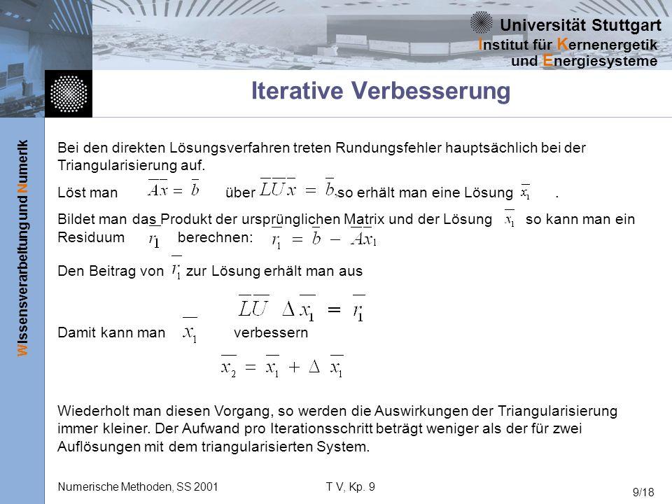 Universität Stuttgart Wissensverarbeitung und Numerik I nstitut für K ernenergetik und E nergiesysteme Numerische Methoden, SS 2001T V, Kp. 9 9/18 Ite