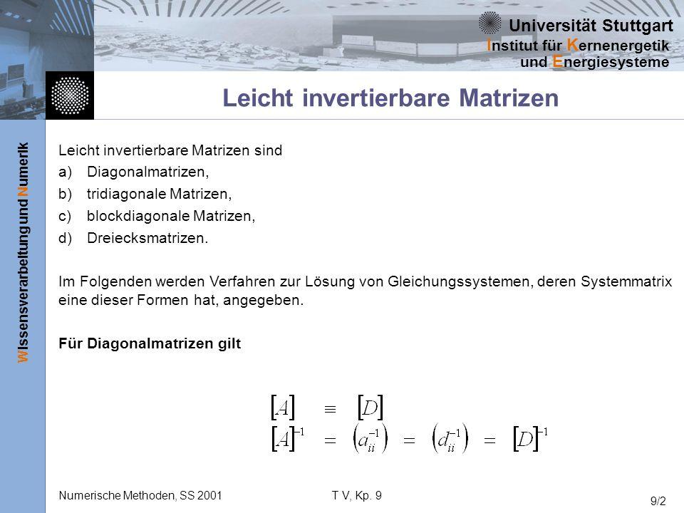 Universität Stuttgart Wissensverarbeitung und Numerik I nstitut für K ernenergetik und E nergiesysteme Numerische Methoden, SS 2001T V, Kp. 9 9/2 Leic