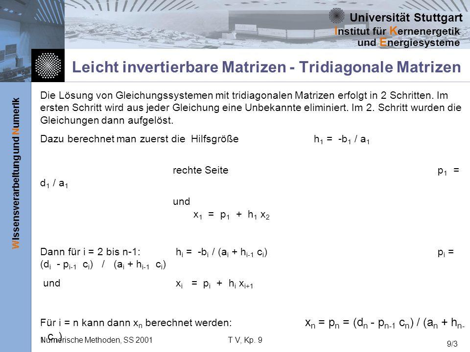 Universität Stuttgart Wissensverarbeitung und Numerik I nstitut für K ernenergetik und E nergiesysteme Numerische Methoden, SS 2001T V, Kp. 9 9/3 Leic