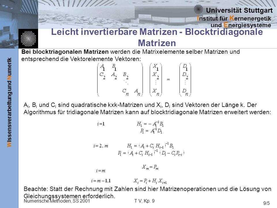 Universität Stuttgart Wissensverarbeitung und Numerik I nstitut für K ernenergetik und E nergiesysteme Numerische Methoden, SS 2001T V, Kp. 9 9/5 Leic