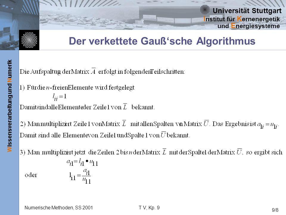 Universität Stuttgart Wissensverarbeitung und Numerik I nstitut für K ernenergetik und E nergiesysteme Numerische Methoden, SS 2001T V, Kp. 9 9/8 Der