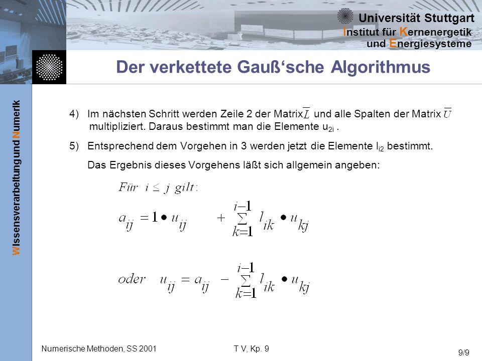 Universität Stuttgart Wissensverarbeitung und Numerik I nstitut für K ernenergetik und E nergiesysteme Numerische Methoden, SS 2001T V, Kp. 9 9/9 Der