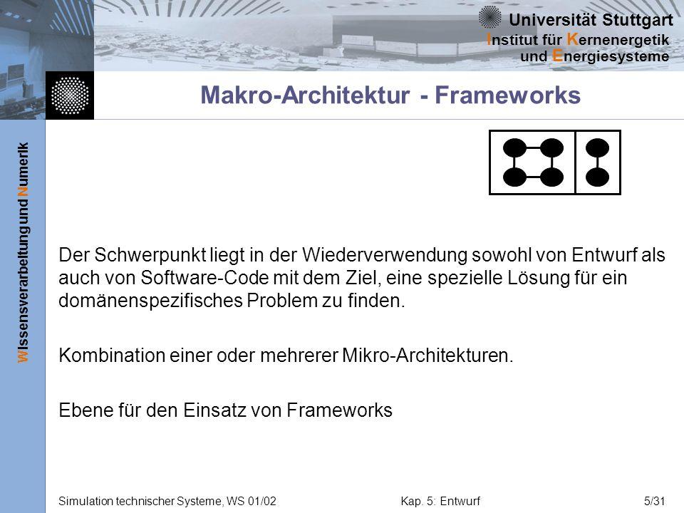 Universität Stuttgart Wissensverarbeitung und Numerik I nstitut für K ernenergetik und E nergiesysteme Simulation technischer Systeme, WS 01/02Kap. 5: