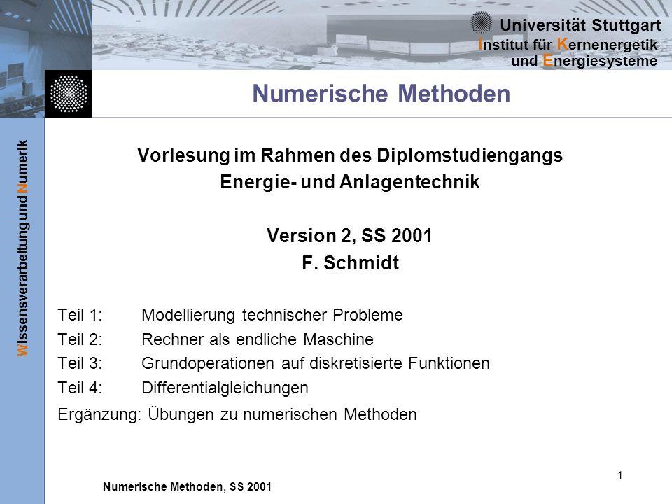 Universität Stuttgart Wissensverarbeitung und Numerik I nstitut für K ernenergetik und E nergiesysteme Numerische Methoden, SS 2001 1 Numerische Metho