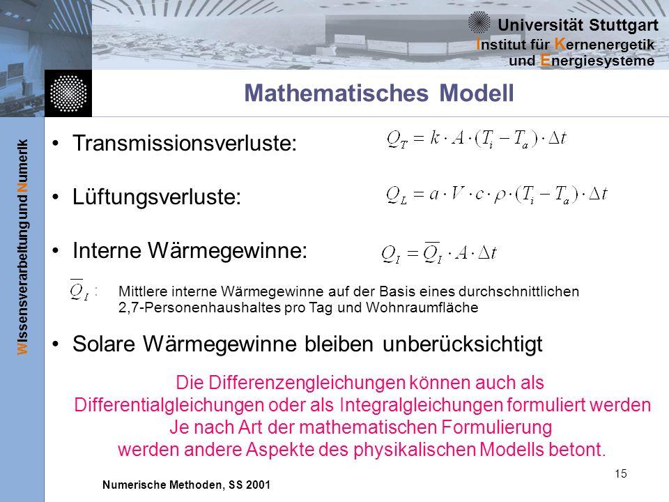 Universität Stuttgart Wissensverarbeitung und Numerik I nstitut für K ernenergetik und E nergiesysteme Numerische Methoden, SS 2001 15 Mathematisches