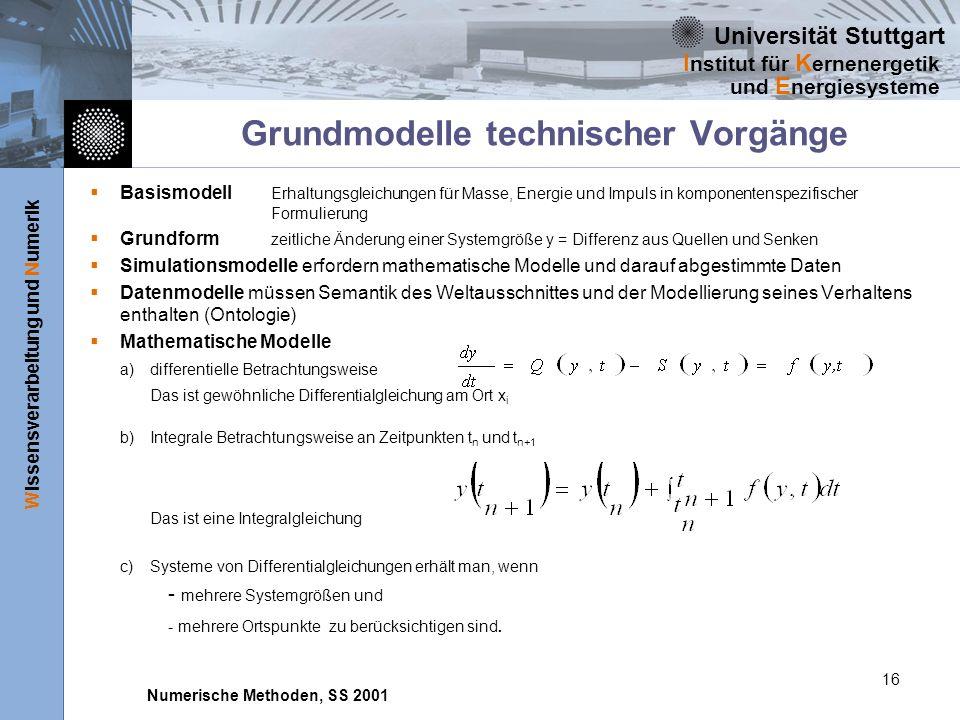Universität Stuttgart Wissensverarbeitung und Numerik I nstitut für K ernenergetik und E nergiesysteme Numerische Methoden, SS 2001 16 Grundmodelle te