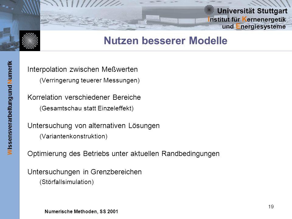 Universität Stuttgart Wissensverarbeitung und Numerik I nstitut für K ernenergetik und E nergiesysteme Numerische Methoden, SS 2001 19 Nutzen besserer
