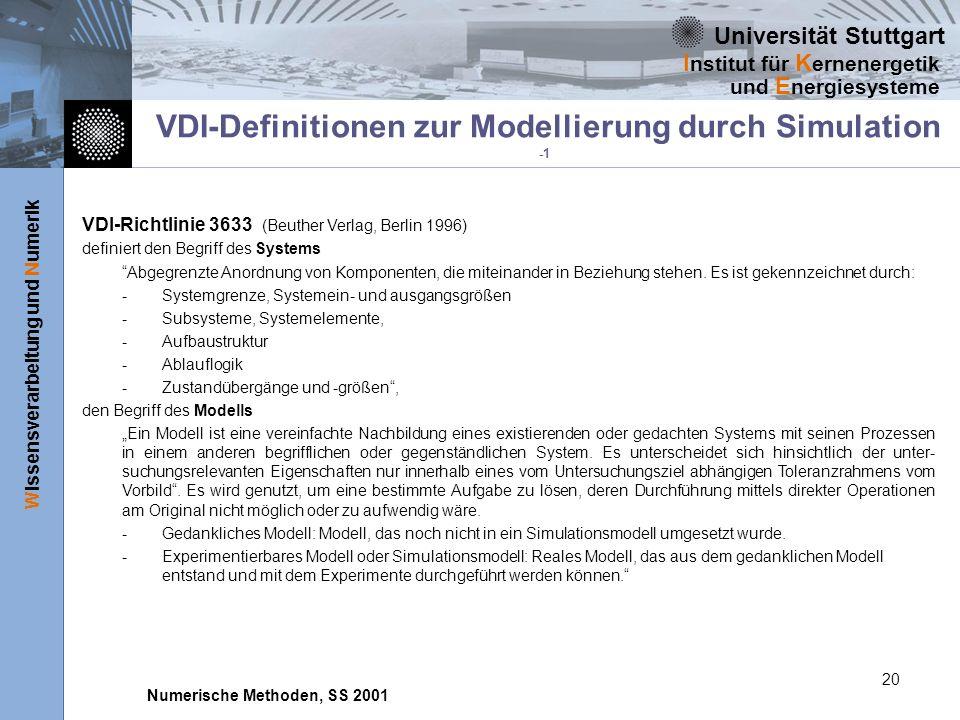 Universität Stuttgart Wissensverarbeitung und Numerik I nstitut für K ernenergetik und E nergiesysteme Numerische Methoden, SS 2001 20 VDI-Definitione