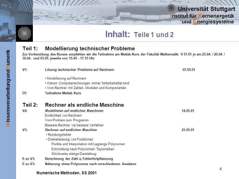 Universität Stuttgart Wissensverarbeitung und Numerik I nstitut für K ernenergetik und E nergiesysteme Numerische Methoden, SS 2001 4 Inhalt: Teile 1