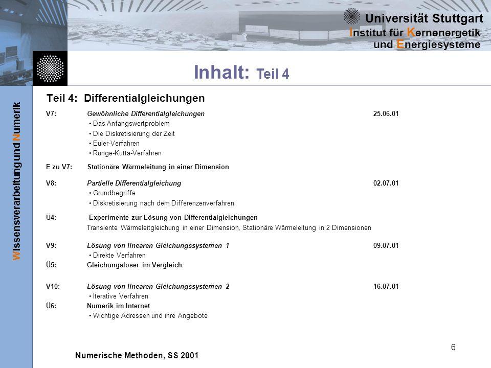 Universität Stuttgart Wissensverarbeitung und Numerik I nstitut für K ernenergetik und E nergiesysteme Numerische Methoden, SS 2001 6 Teil 4: Differen