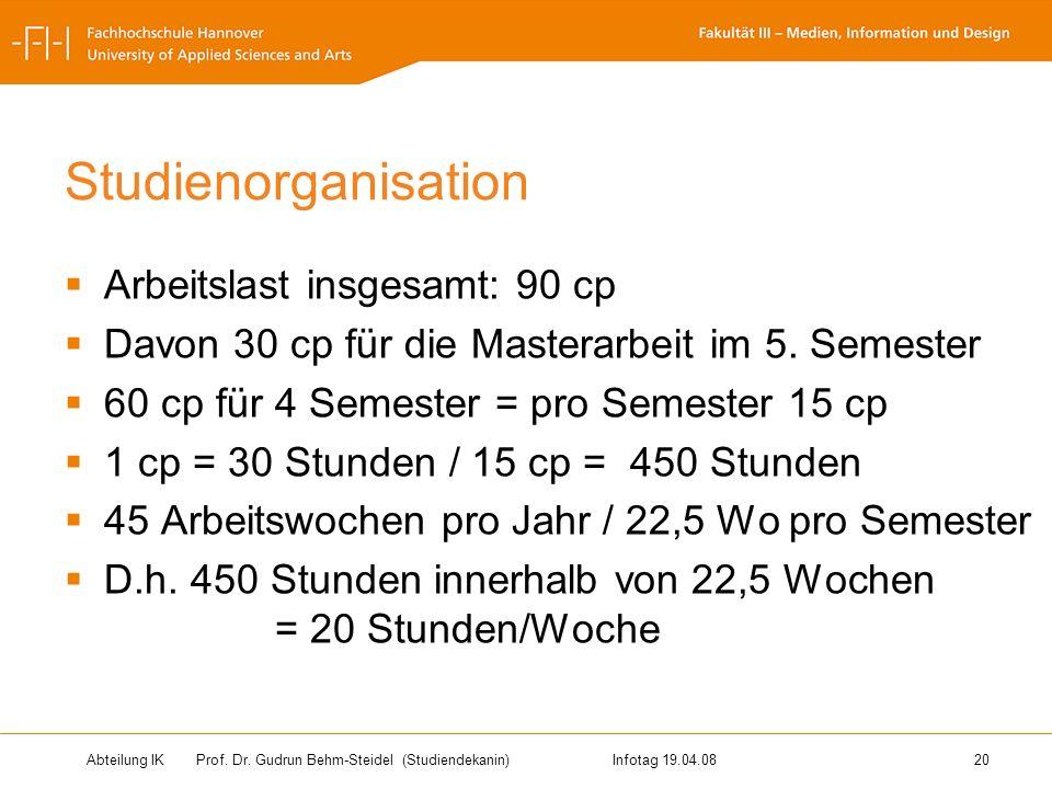 Abteilung IK Prof. Dr. Gudrun Behm-Steidel(Studiendekanin)Infotag 19.04.08 20 Studienorganisation Arbeitslast insgesamt: 90 cp Davon 30 cp für die Mas