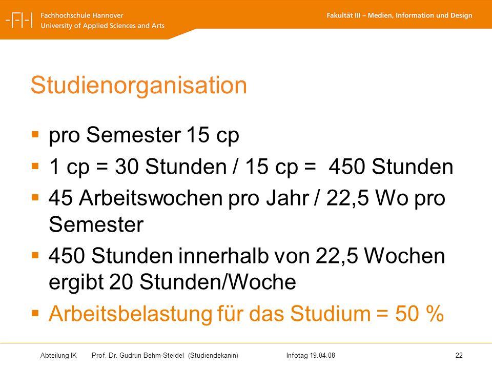 Abteilung IK Prof. Dr. Gudrun Behm-Steidel(Studiendekanin)Infotag 19.04.08 22 Studienorganisation pro Semester 15 cp 1 cp = 30 Stunden / 15 cp = 450 S