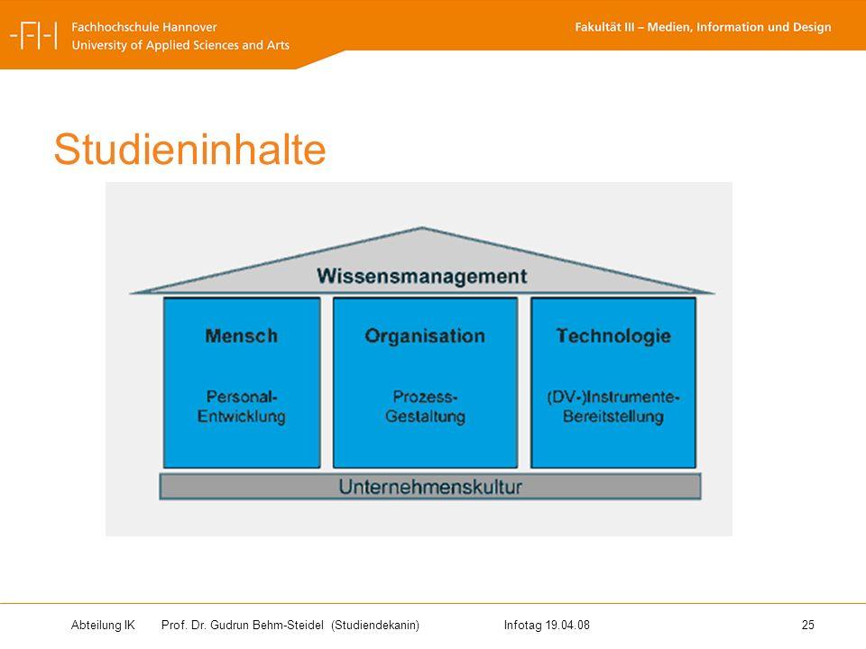 Abteilung IK Prof. Dr. Gudrun Behm-Steidel(Studiendekanin)Infotag 19.04.08 25 Studieninhalte