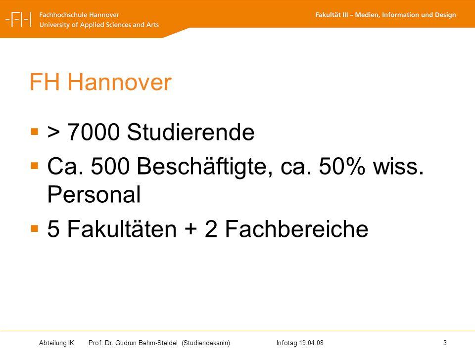 Abteilung IK Prof. Dr. Gudrun Behm-Steidel(Studiendekanin)Infotag 19.04.08 3 FH Hannover > 7000 Studierende Ca. 500 Beschäftigte, ca. 50% wiss. Person