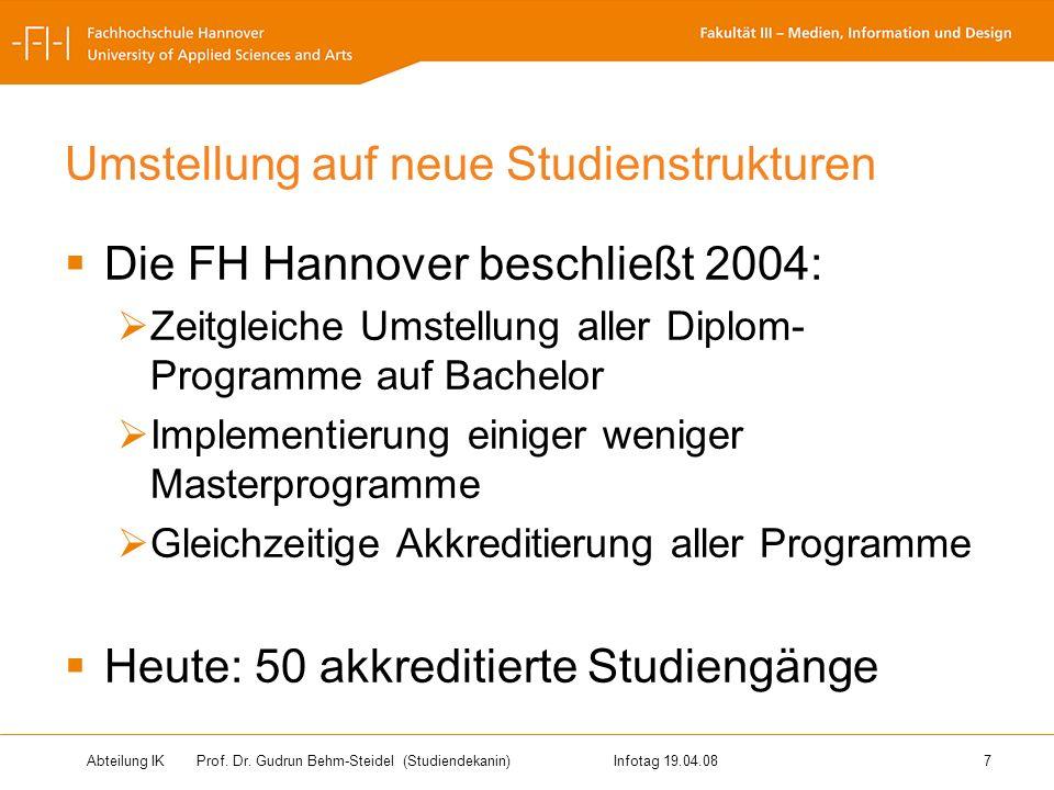 Abteilung IK Prof. Dr. Gudrun Behm-Steidel(Studiendekanin)Infotag 19.04.08 7 Umstellung auf neue Studienstrukturen Die FH Hannover beschließt 2004: Ze