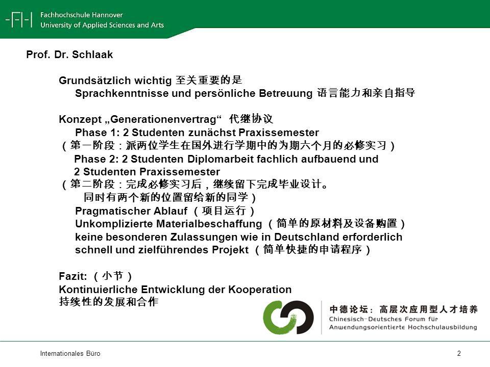 Internationales Büro 2 Prof. Dr.