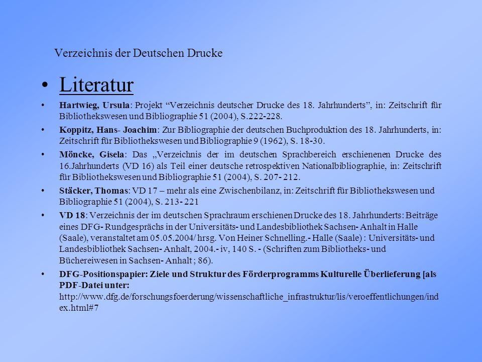 Verzeichnis der Deutschen Drucke Literatur Hartwieg, Ursula: Projekt Verzeichnis deutscher Drucke des 18.