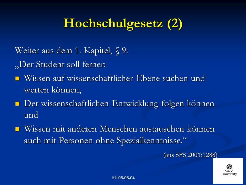 HU 06-05-04 Hochschulgesetz (2) Weiter aus dem 1.