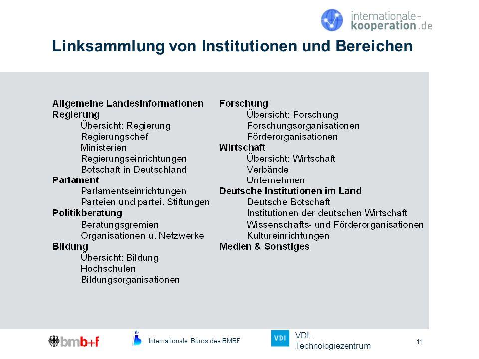 Internationale Büros des BMBF VDI- Technologiezentrum 11 Linksammlung von Institutionen und Bereichen