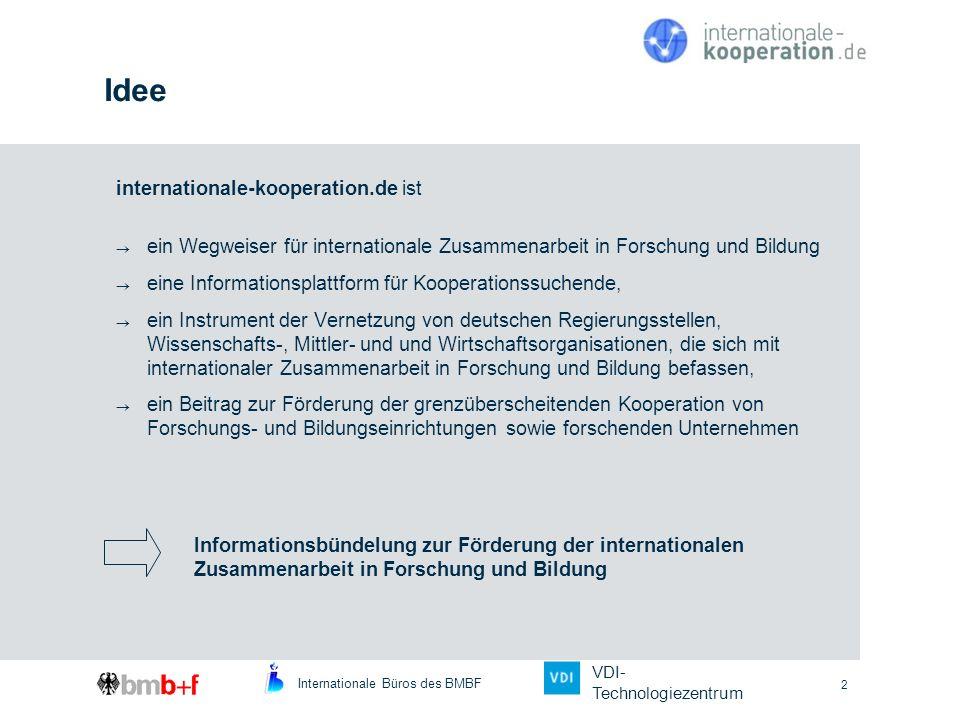 Internationale Büros des BMBF VDI- Technologiezentrum 2 Idee internationale-kooperation.de ist ein Wegweiser für internationale Zusammenarbeit in Fors
