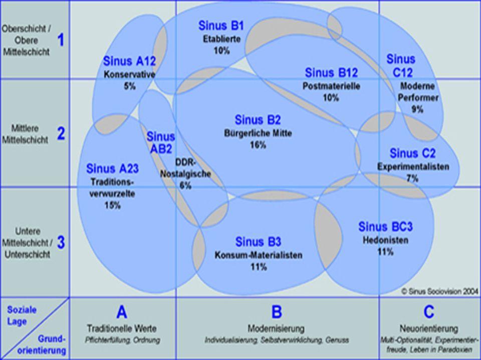 Sinus C12 Moderne Performer (8%) Lebenswelt: Intensives Leben, Bereitschaft, zur Verwirklichung von Ideen berufliche und sportliche Leistungsgrenzen erfahren und erweitern Ausgeprägter Ehrgeiz, Selbständigkeit, Experimentierfreudigkeit und Erprobung der eigenen Fähigkeiten; spielerisches Machbarkeitsdenken Integration modernster Multimedia- und Kommunikationstechnologien gelten beruflich und auch privat als Selbstverständlichkeit