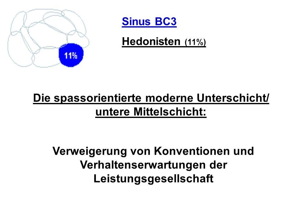 Sinus BC3 Hedonisten (11%) Die spassorientierte moderne Unterschicht/ untere Mittelschicht: Verweigerung von Konventionen und Verhaltenserwartungen de