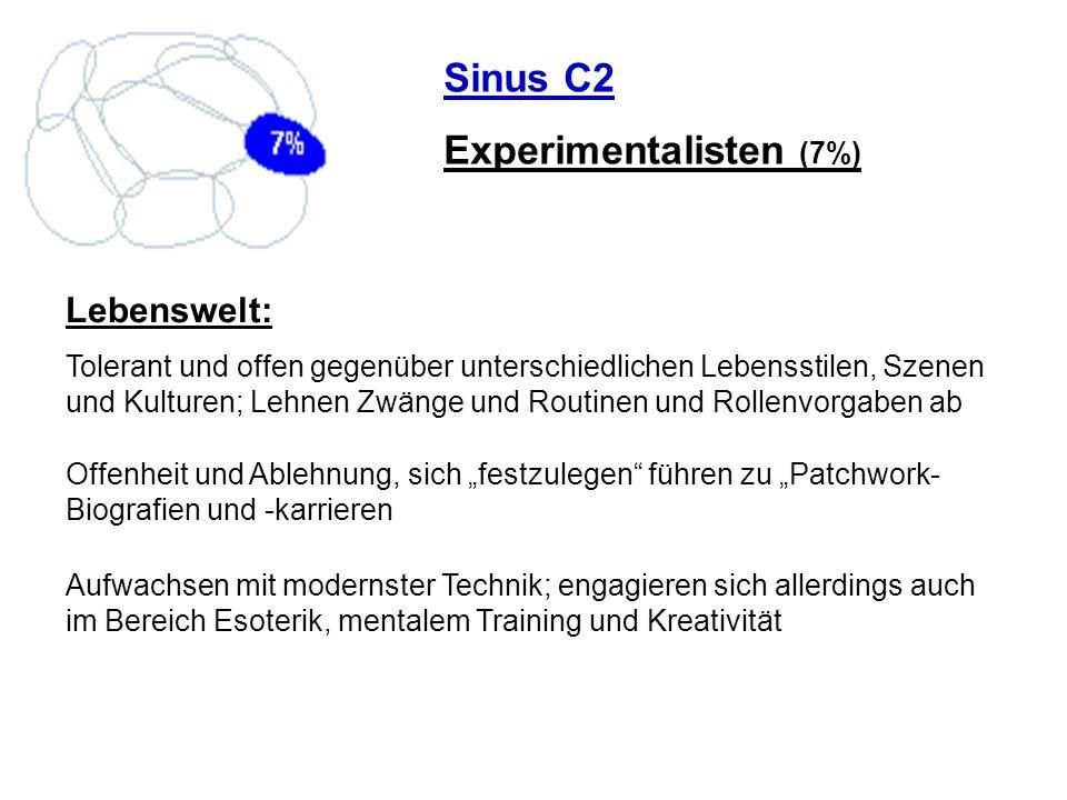 Sinus C2 Experimentalisten (7%) Lebenswelt: Tolerant und offen gegenüber unterschiedlichen Lebensstilen, Szenen und Kulturen; Lehnen Zwänge und Routin