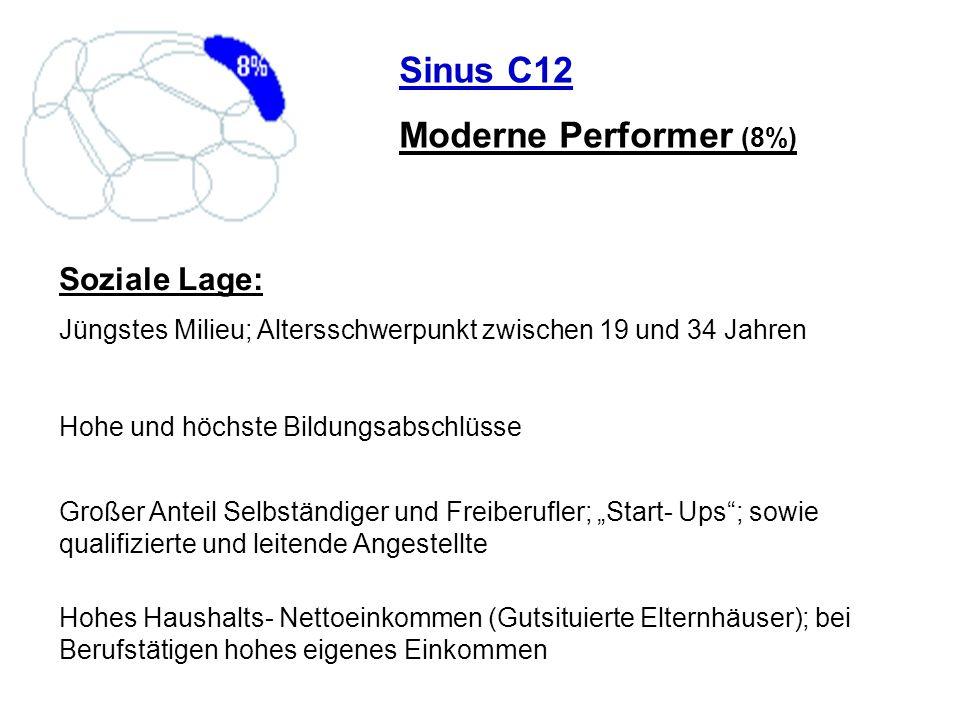 Sinus C12 Moderne Performer (8%) Soziale Lage: Jüngstes Milieu; Altersschwerpunkt zwischen 19 und 34 Jahren Hohe und höchste Bildungsabschlüsse Großer