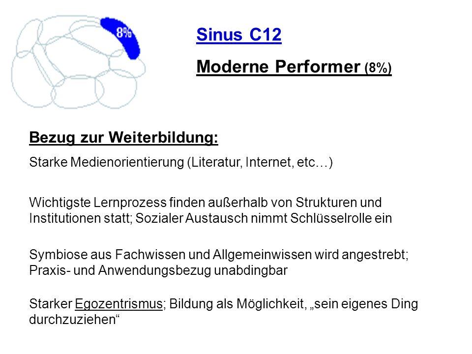 Sinus C12 Moderne Performer (8%) Bezug zur Weiterbildung: Starke Medienorientierung (Literatur, Internet, etc…) Wichtigste Lernprozess finden außerhal
