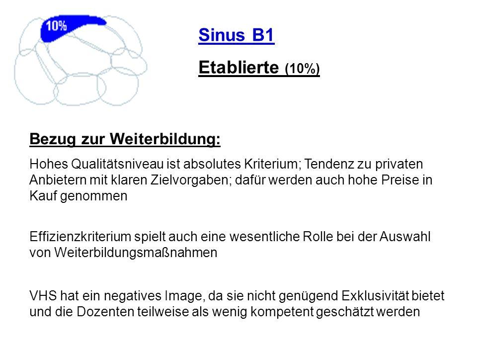 Sinus B1 Etablierte (10%) Bezug zur Weiterbildung: Hohes Qualitätsniveau ist absolutes Kriterium; Tendenz zu privaten Anbietern mit klaren Zielvorgabe