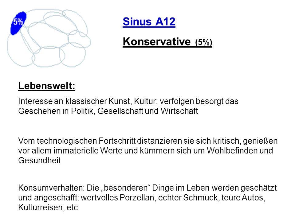 Sinus A12 Konservative (5%) Lebenswelt: Interesse an klassischer Kunst, Kultur; verfolgen besorgt das Geschehen in Politik, Gesellschaft und Wirtschaf