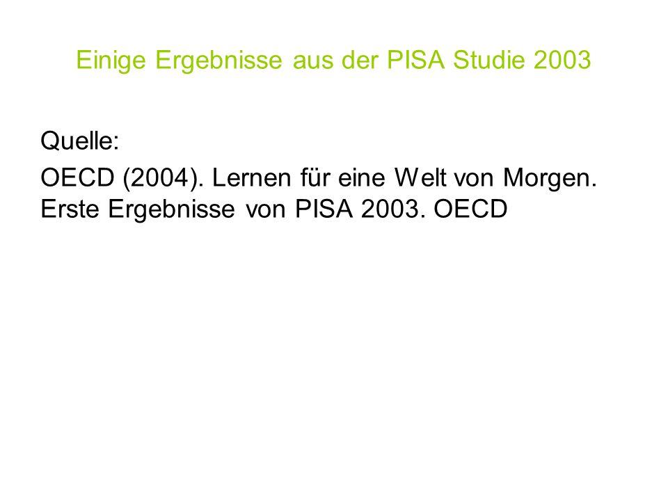 Einige Ergebnisse aus der PISA Studie 2003 Quelle: OECD (2004). Lernen für eine Welt von Morgen. Erste Ergebnisse von PISA 2003. OECD