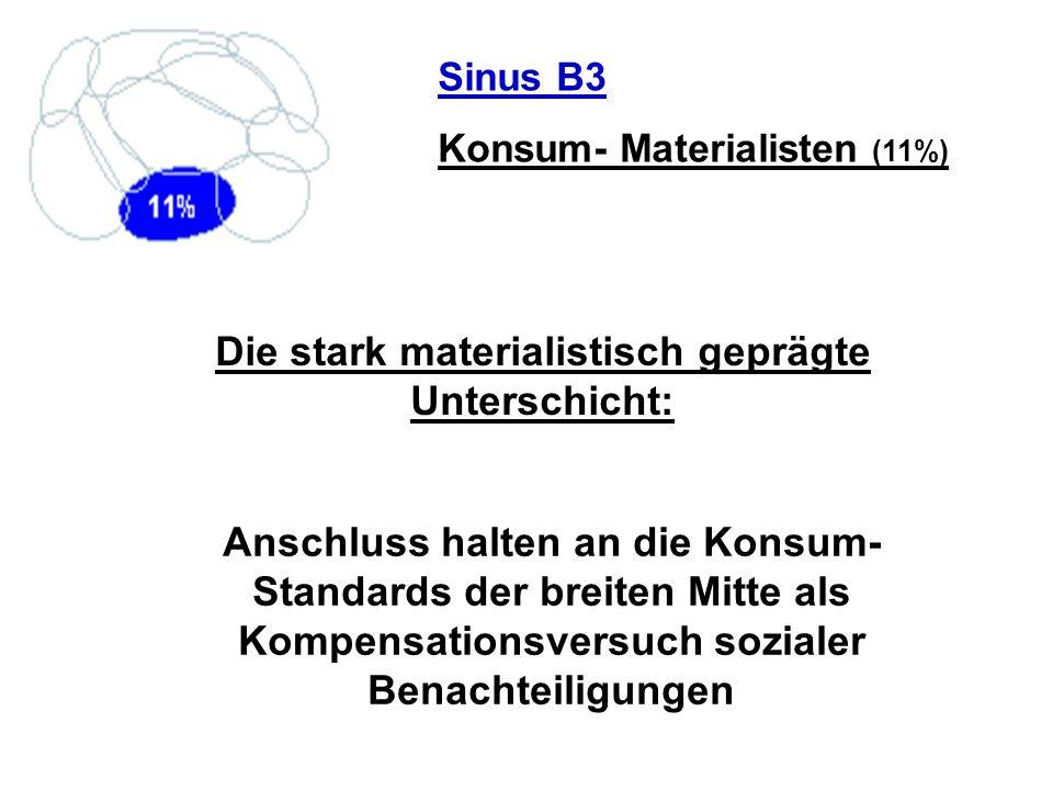 Sinus B3 Konsum- Materialisten (11%) Die stark materialistisch geprägte Unterschicht: Anschluss halten an die Konsum- Standards der breiten Mitte als