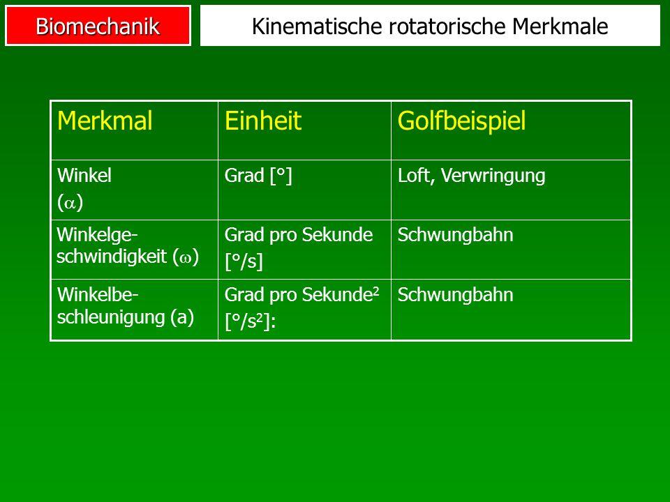 BiomechanikKinematische rotatorische Merkmale SchwungbahnGrad pro Sekunde 2 [°/s 2 ]: Winkelbe- schleunigung (a) SchwungbahnGrad pro Sekunde [°/s] Win