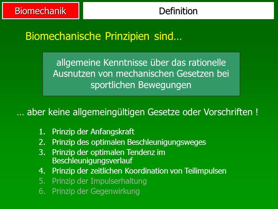 Biomechanik Biomechanische Prinzipien sind… Definition 1. 1.Prinzip der Anfangskraft 2. 2.Prinzip des optimalen Beschleunigungsweges 3. 3.Prinzip der