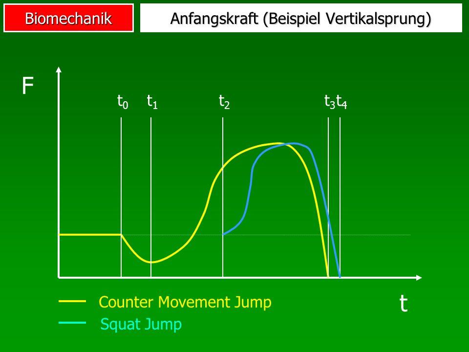 Biomechanik Anfangskraft (Beispiel Vertikalsprung) t0t0 t1t1 t2t2 t3t3 t4t4 F t Counter Movement Jump Squat Jump