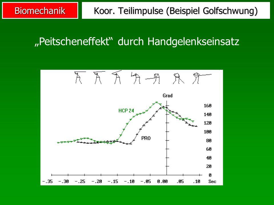 Biomechanik Koor. Teilimpulse (Beispiel Golfschwung) Peitscheneffekt durch Handgelenkseinsatz