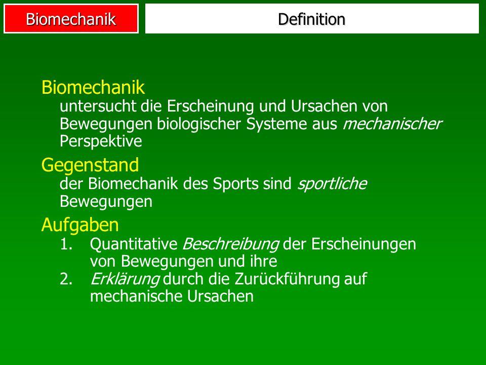 Biomechanik Mechanik liefert deterministische physikalische Gesetze über die Beziehung von Masse, Kraft und Geschwindigkeit.